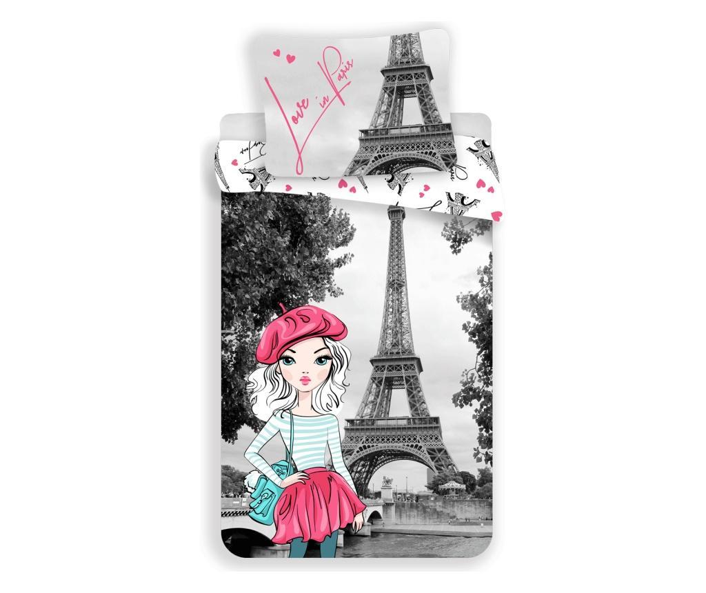 Set de pat Single Ranforce Paris Grey - Sweet home, Multicolor