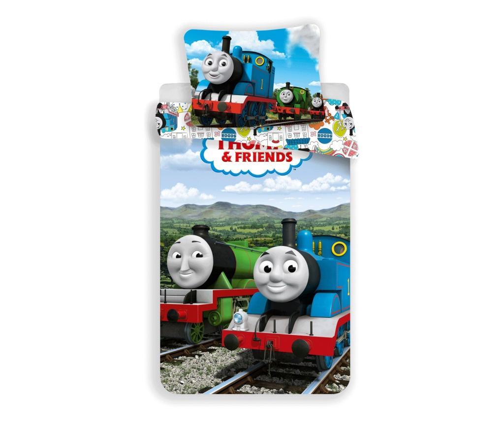 Set de pat Single Ranforce Thomas Funny - Thomas and Friends, Multicolor de la Thomas and Friends