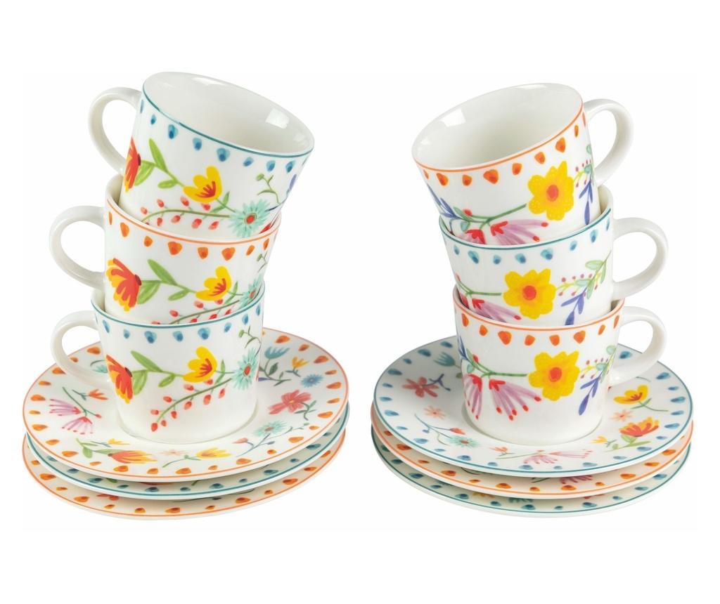 Set 6 cesti pentru cafea Paseo de Flores - Villa D'Este, Gri & Argintiu