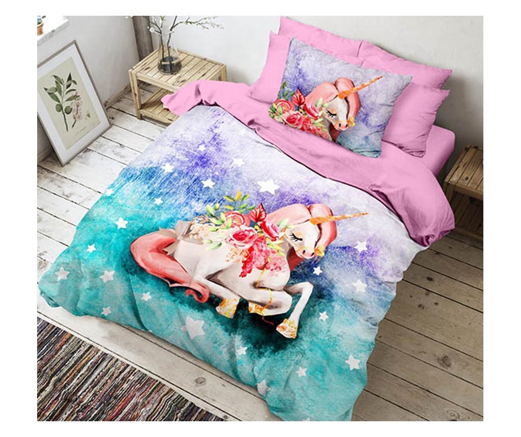Lenjerie de pat Single Ranforce Unicorn Sisi - The Club Cotton, Multicolor