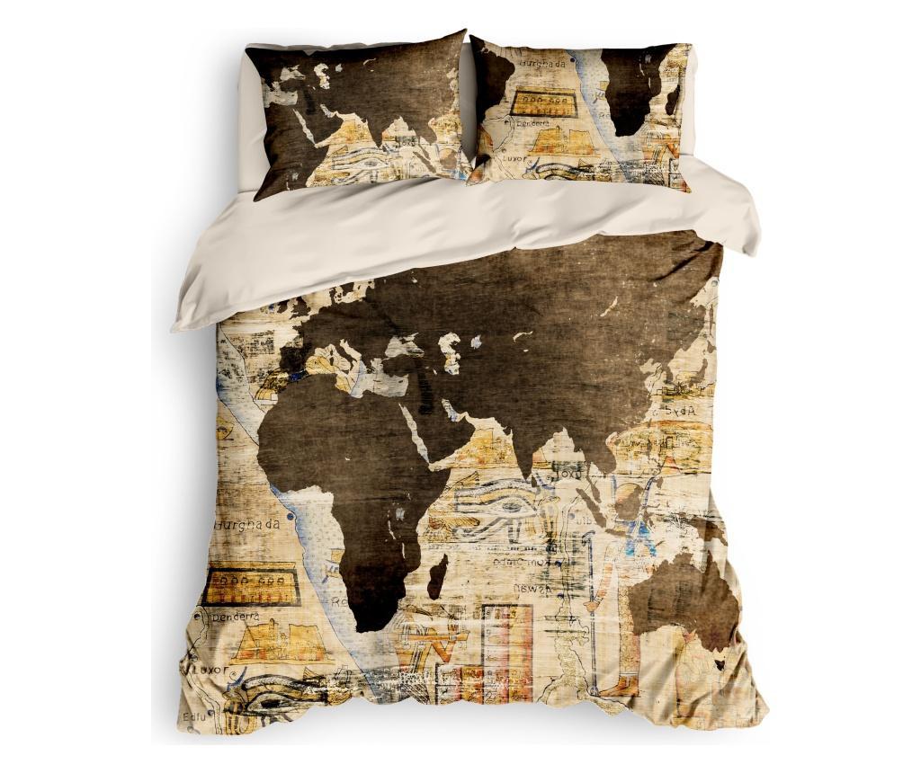 Lenjerie de pat Double Ranforce World Map - The Club Cotton, Multicolor
