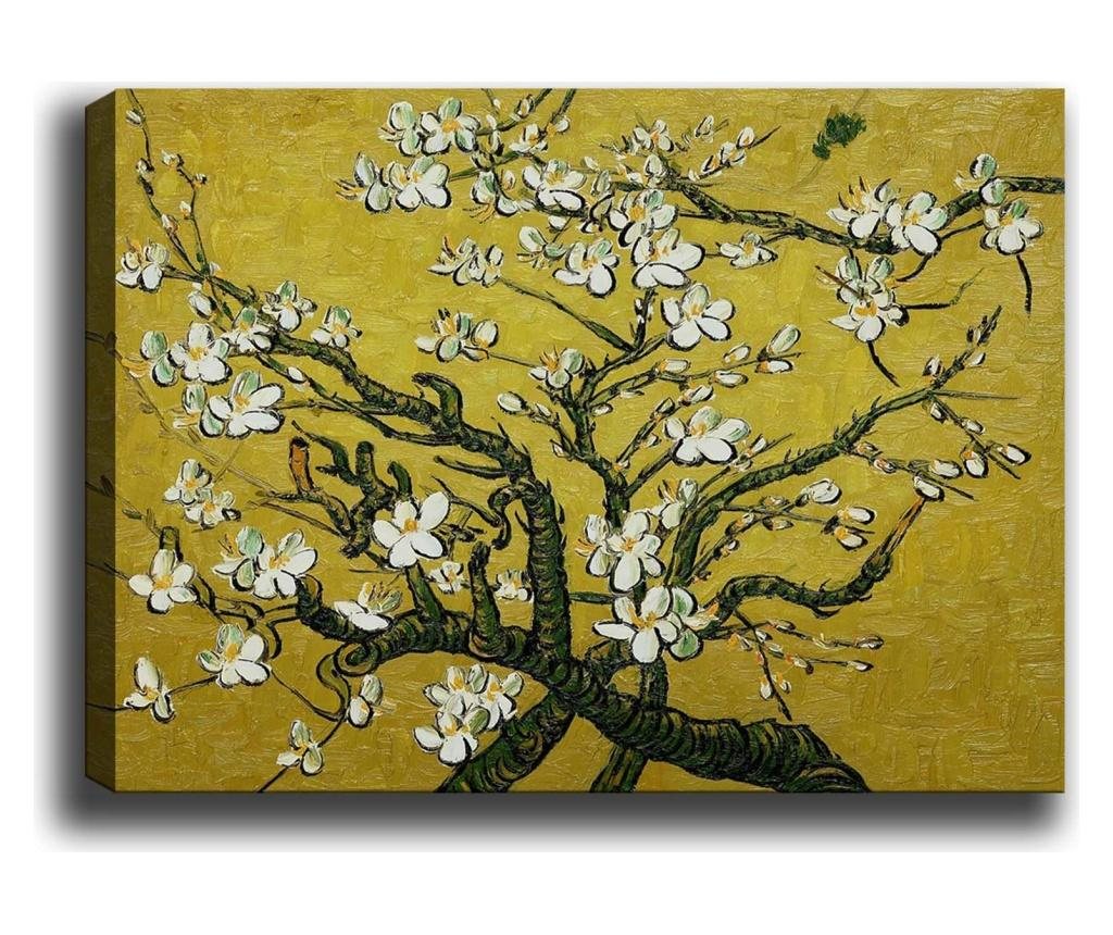 Tablou Branches of an Almond Tree in Yellow 100x140 cm - TABLOCENTER, Multicolor