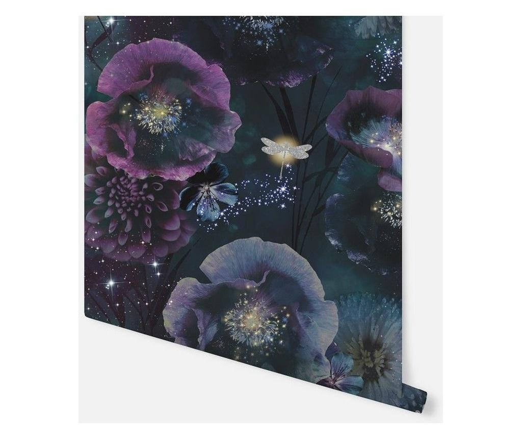 Stenska tapeta Nocturnal Purple Teal 53x1005 cm