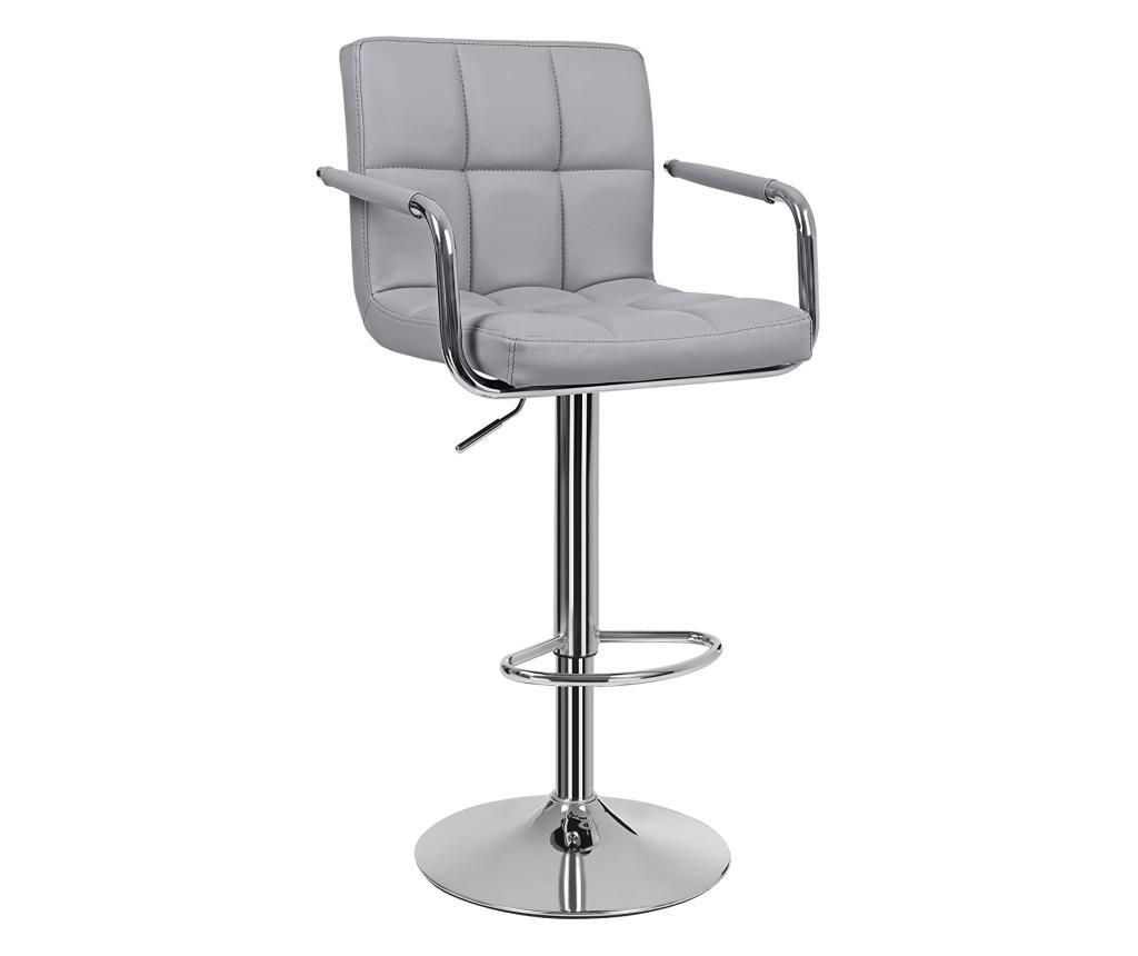 Set 2 scaune de bar - SONGMICS, Gri & Argintiu
