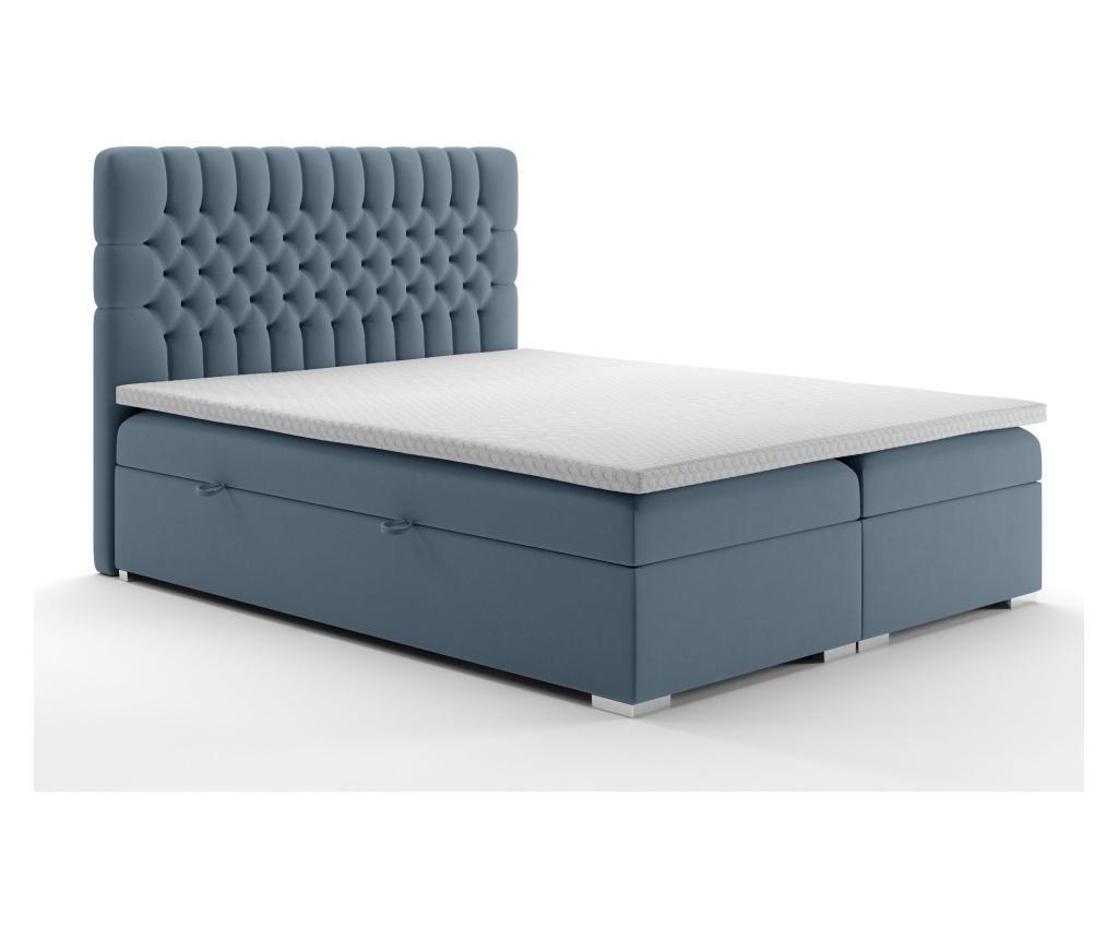 Pat cu spatiu pentru depozitare si saltea topper Moet Blue Grey 160x200 cm - Maison De Reve, Albastru