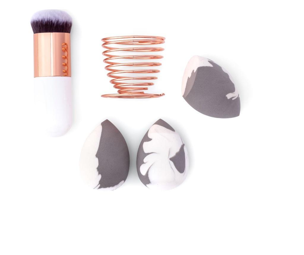 Set pensula Kabuki si 3 bureti cosmetici - Zoe Ayla