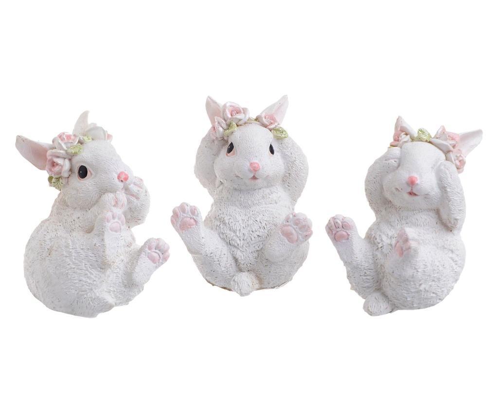 Set 3 decoratiuni Rabbit - inart, Crem