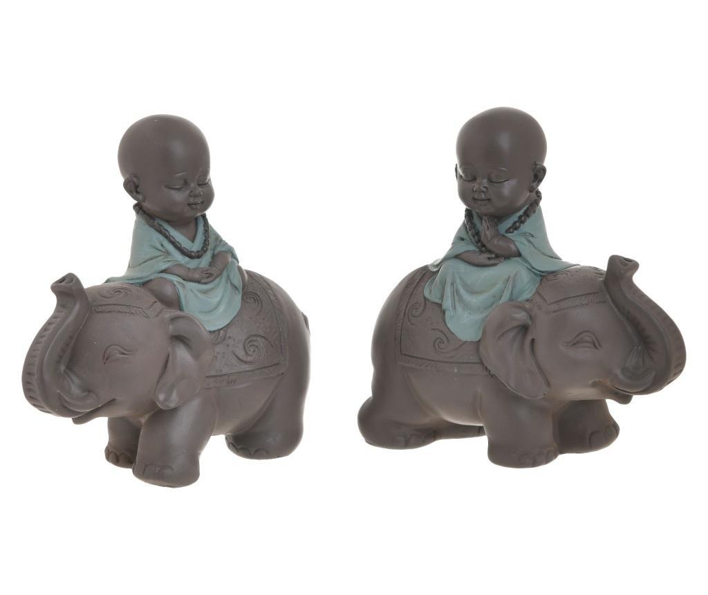 Set 2 decoratiuni Buddha - inart, Gri & Argintiu