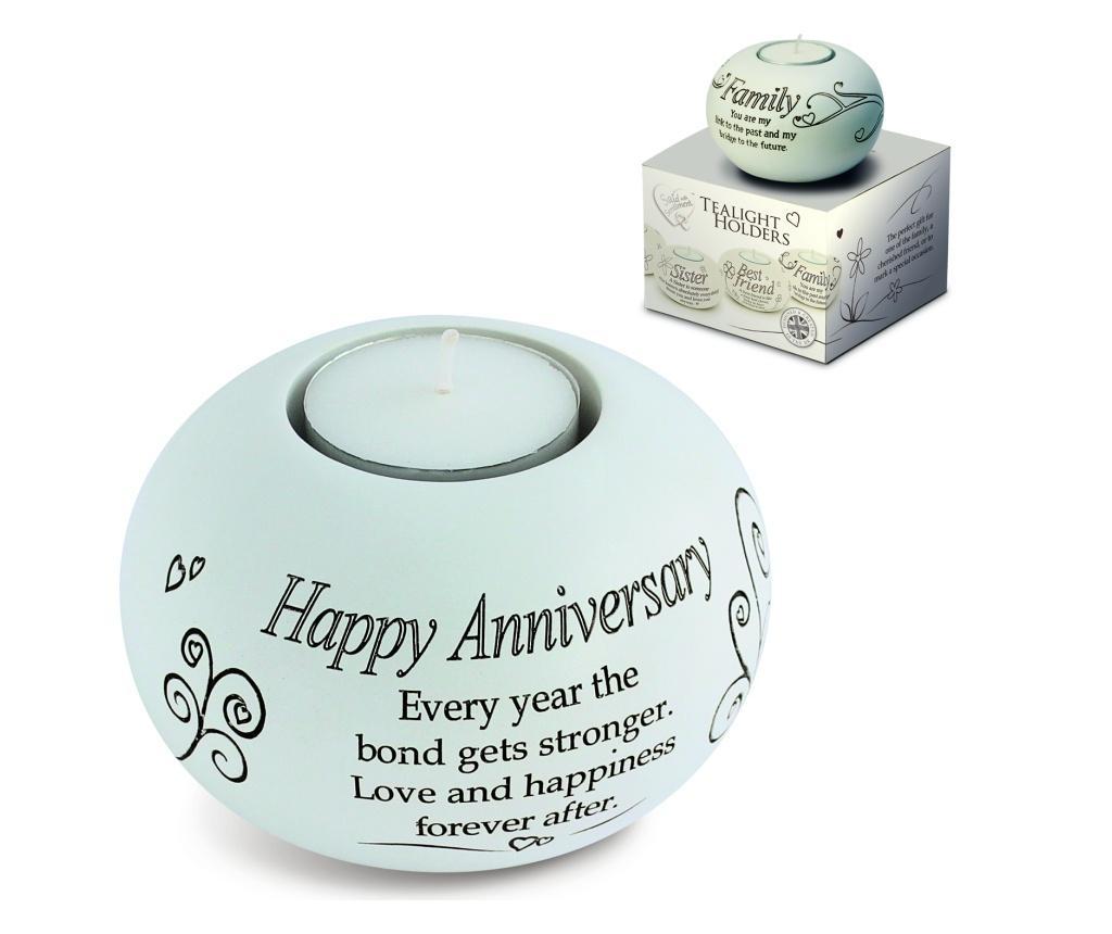 Suport pentru lumanare Tealight - Happy Anniversary - Said With Sentiment, Multicolor