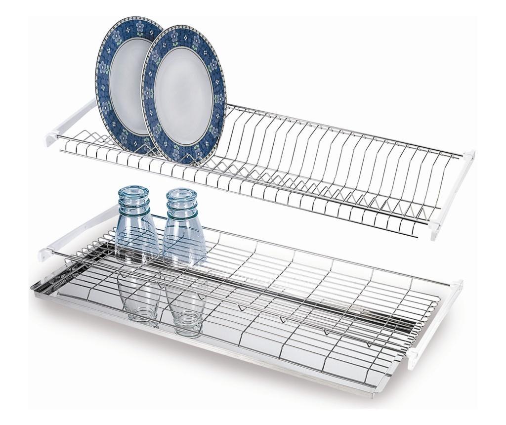 Uscator de vase cu tava pentru apa - CASABRIKO, Gri & Argintiu