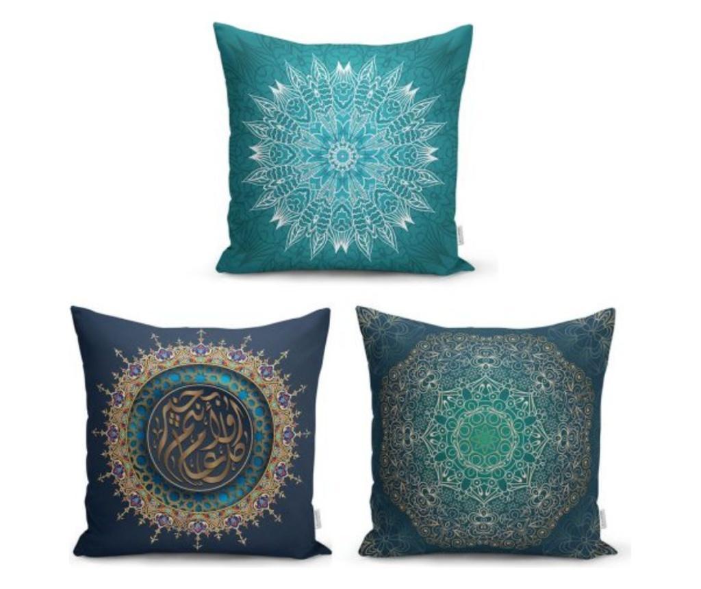 Set 3 fete de perna Minimalist Cushion Covers Ethnic Green Mandala - Minimalist Home World, Multicolor de la Minimalist Home World