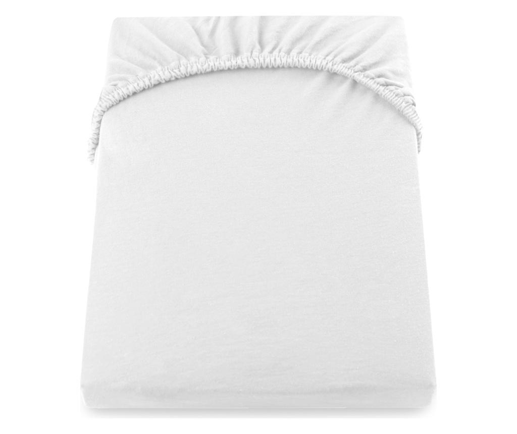 Cearsaf de pat cu elastic Amber 180x200 cm DecoKing, bumbac, alb - DecoKing, Alb