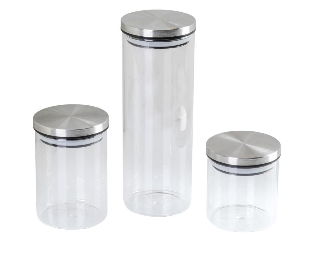 Set 3 borcane cu capac - Axentia, Gri & Argintiu