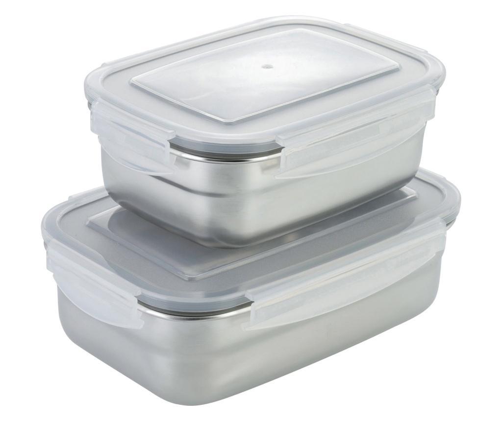 Set 2 cutii pentru pranz - Axentia, Gri & Argintiu