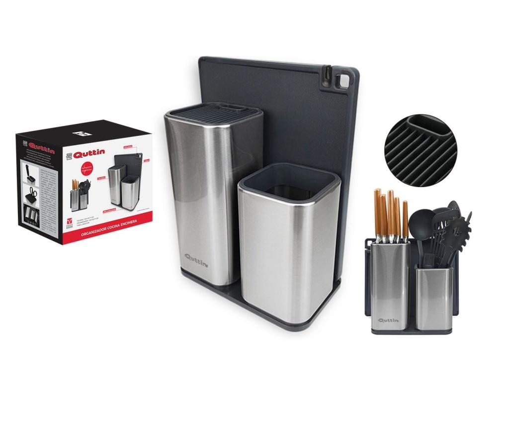 Suport pentru cutite si ustensile de bucatarie - QUTTIN, Gri & Argintiu