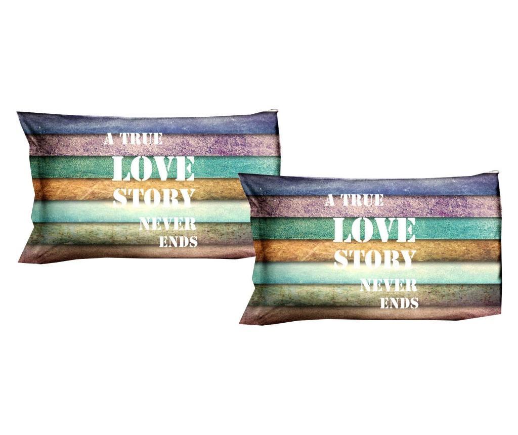 Set 2 fete de perna Love Story 50x80 cm, Polo Ovest, bumbac, multicolor - Polo Ovest, Multicolor
