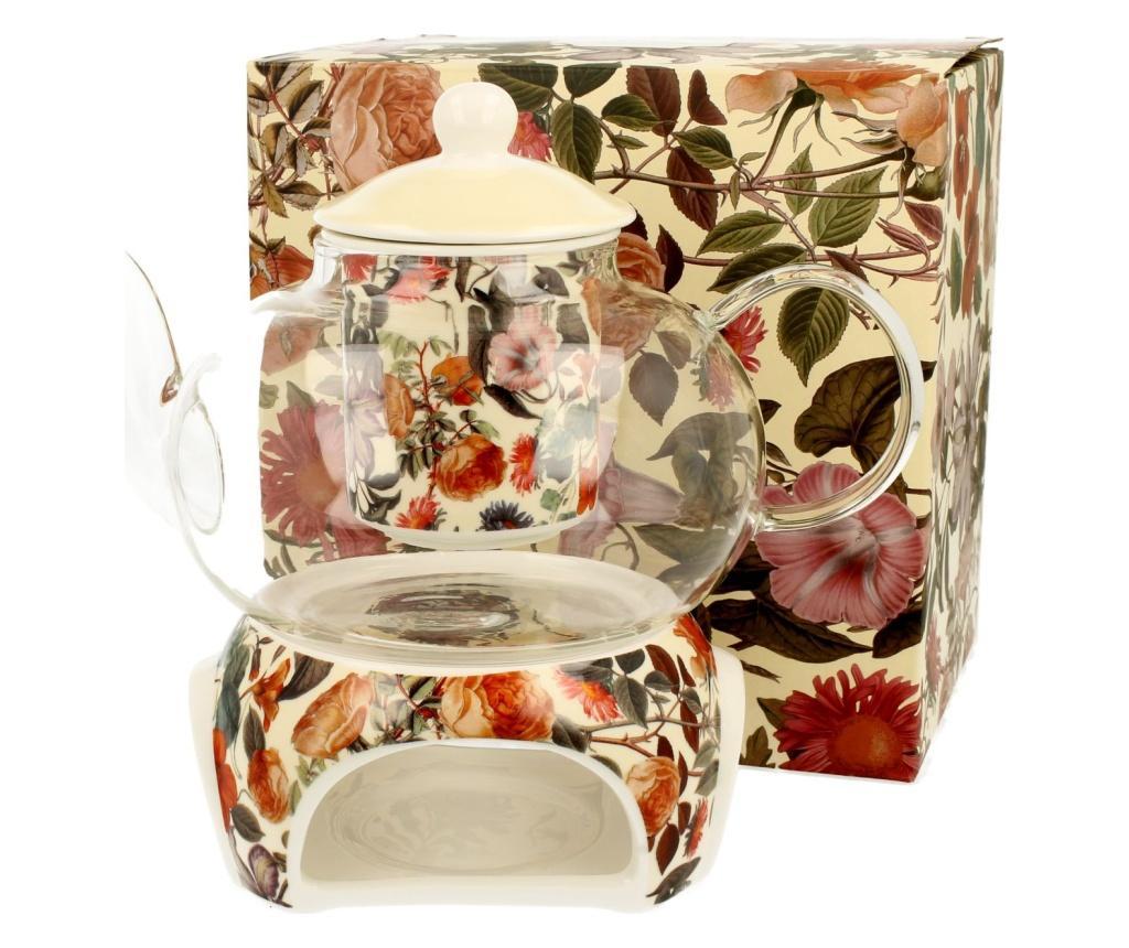 Set ceainic cu infuzor si incalzitor Floral Dream 1 L - DUO, Multicolor
