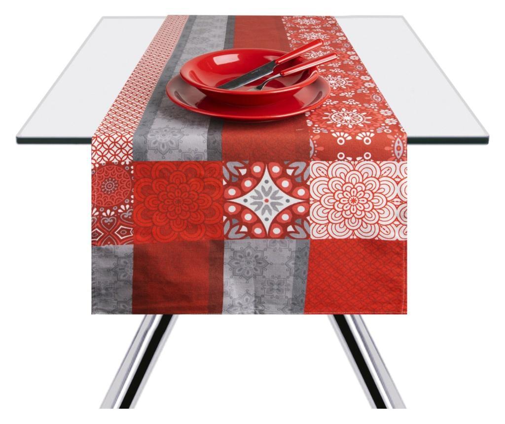 Traversa de masa Mandala Red 45x140 cm - Excelsa, Gri & Argintiu de la Excelsa
